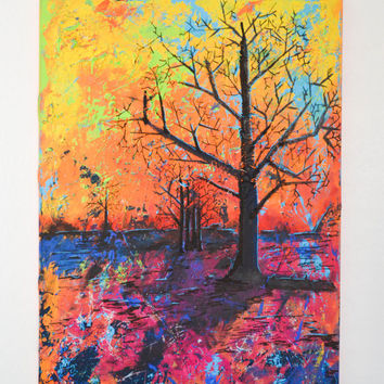 Midnight Orange- an original colorful abstract tree acrylic painting by FQ Studios, tree art, bright art, yellow, orange,abstract tree,large