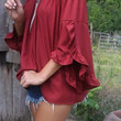 The Rosebud Off The Shoulder Burgundy Blouse With Ruffled Petal Sleeves