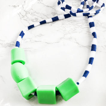Bold Colourful Non toxic jewelry - Kids bijouterie - Green Beaded t-shirt yarn necklaces-Lightweight Toddler necklace-Kid sensory necklace