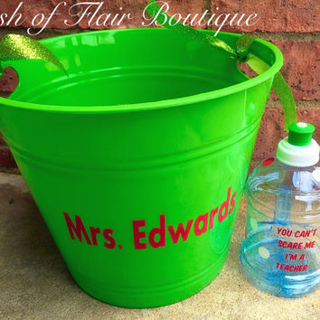 Teacher Gifts, You Can't Scare Me I'm A Teacher Water Bottle and Personalized Gift Basket, Teacher Appreciation Week Gift Set