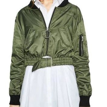 HDY Haoduoyi Autumn Women Fashion Casual Long Sleeve Turn-down Collar Coat Army Green Zippers Detial Crop Bomber Jacket