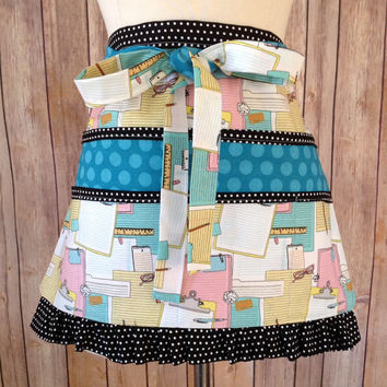 Teacher's Half Apron With Pockets, Post-It Notes Fabric, Novelty Utility Apron