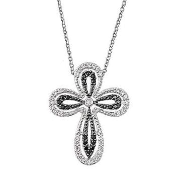 .925 Black and Clear CZ Cross Necklace