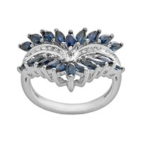 Sterling Silver Sapphire & Diamond Accent Ring (Blue)