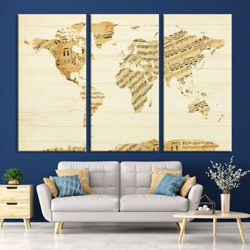 N14452 - Modern Large Musical Note Wall Art World Map Map Canvas Print for Living Room Decor Art- Ready to Hang