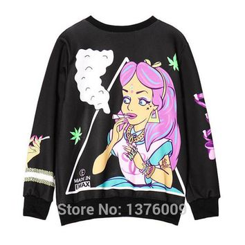 Harajuku Style Sweatshirt Gothic Punk Womens Hoodies Spring Autumn Rock Evil Alice Pricess Pullover Sweatshirt Femme