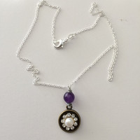 White Pearl bead Czs flower Necklace with Amethyst
