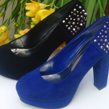 New Sexy Suede Spike High Heels Women Shoes,Black & Royal Blue, Many Sizes.