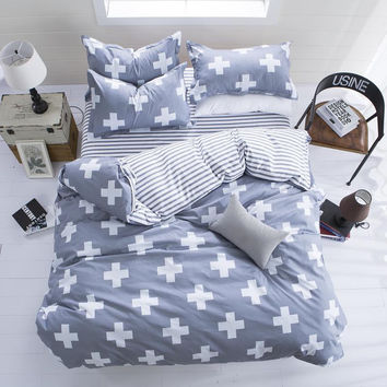 New Fashion Bedding Set 4pcs/3pcs Duvet Cover Sets Soft Polyester Bed Linen Flat Bed Sheet Set Pillowcase Home Textile Drop Ship