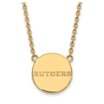 NCAA 14k Gold Plated Silver Rutgers Large Polished Disc Necklace