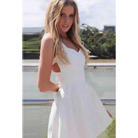 Dress Princess Dress White Zippers Princess One Piece Dress = 4804167812
