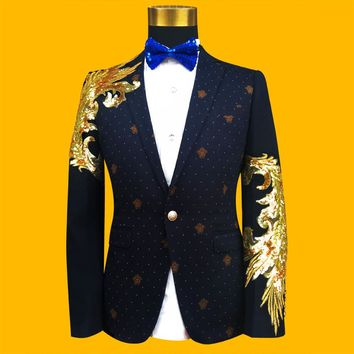 (jacket+tie) male blazer jacket coat casual formal wedding party groom prom dress party singer blue color male outfit show