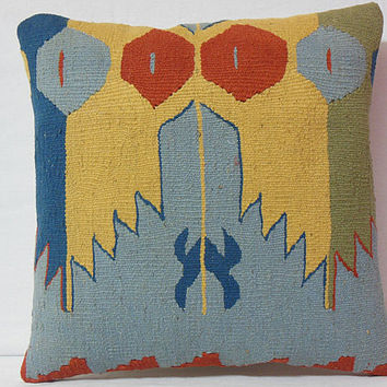 Hand woven Vintage Mirror designed Kilim Pillow Case - Kilim rug decorative pillow - pastel colours - yellow, blue, red - ethnic pillow