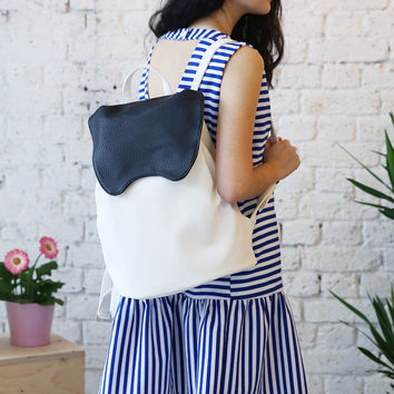 Bunny Backpack Black and Ivory
