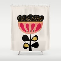 Minimal flower Shower Curtain by vivigonzalezart
