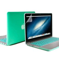 13 Retina Macbook Pro Case, GMYLE(R) Turquoise Blue 3 in 1 Rubberized (Rubber Coated) Hard Case Cover (Model: A1425 and A1502) - Silicon Keyboard Cover- Clear LCD Screen Protector - (Not Fit For Macbook Pro 13)