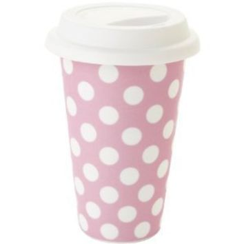 Yedi Houseware Classic Coffee and Tea White Dots 11-Ounce Travel Mug, Pink