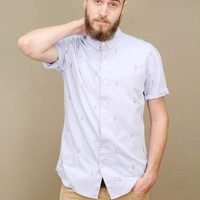 johan owl button up by SLVDR in light blue with embroidered owls | shopcuffs.com