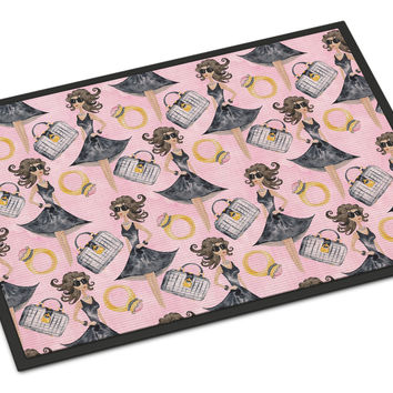 Watercolor Fashion Diva on Pink Indoor or Outdoor Mat 24x36 BB7500JMAT