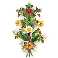 Wallflowers - Vintage Tole Flowers Wall Hanging, Colorful Metal Sculpture by Florentia, Hand Made in Italy, Romantic Cottage Decor