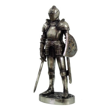 MEDIEVAL KNIGHT 7 TALL VALIANT SWORDSMAN STATUE FIGURINE SUIT OF ARMOR