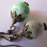 Green Earrings, Lime Green and White, Mint Green Antique Bronze Earrings