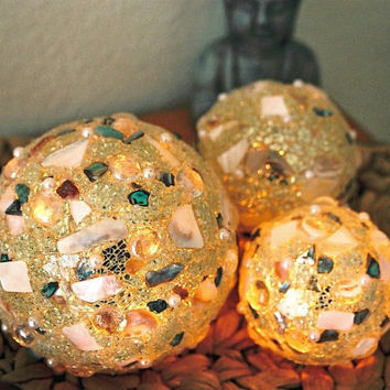 Mosaik Lamp, Lighting, Illumination Ball, Mother of Pearl, Gold or Silver, Flare 16 cm