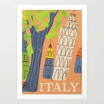 Italy leaning tower of pisa vintage travel poster Art Print by Nick's Emporium Gallery