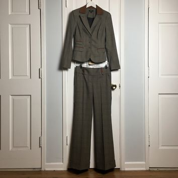 Bebe women's tartan suit blazer + wide leg pants sz 6/4
