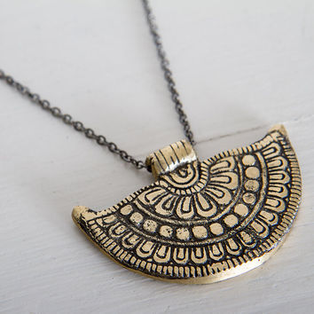 FREE SHIPPING bohemian brass pendant necklace/ Tibetan Pendant necklace