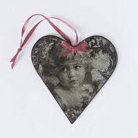 Wooden Christmas Ornament. Hanging Decoupage Heart. Christmas Decoration. Christmas Gift. Shabby Chic Vintage Ornament. Black & White Decor.