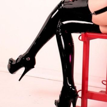 Women sexy lingerie Latex stockings Pu leather