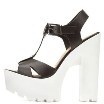 Soda Lug Sole Platform T-Strap Sandals - Black/White