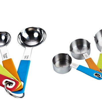 Cook N Home 8-Piece Stainless Steel Measuring Spoon and Cup Set 1