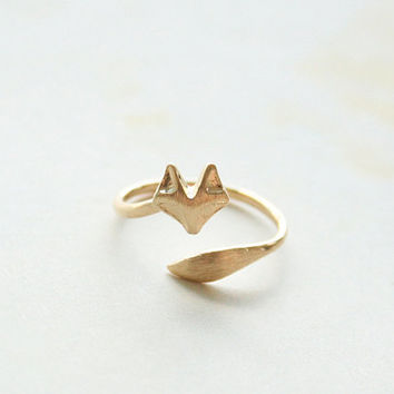 Gold Fox Ring, Adjustable Ring, Knuckle Ring, Simple Ring, Everyday Ring, Tiny Ring, Minimalist Ring, Gift Rings, Dainty Jewelry,