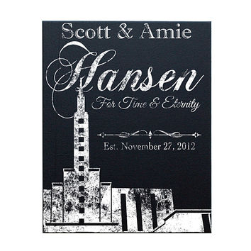 Personalized LDS Temple Canvas Art, Black and White 16x20