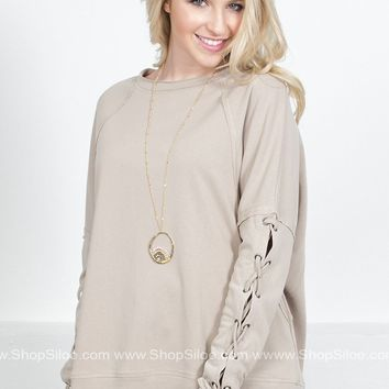 Cool Lace Up Beige Pullover