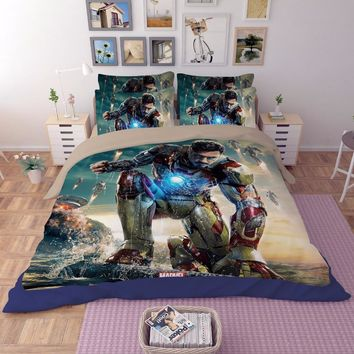 Cool Iron Man Film 3D printing bedding set bedspread bed sheets cartoon Children's Adult duvet covers single full queen king sizeAT_93_12