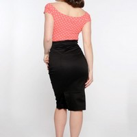 Marilyn Top in Coral with White Dots