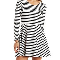 Striped Textured Knit Skater Dress