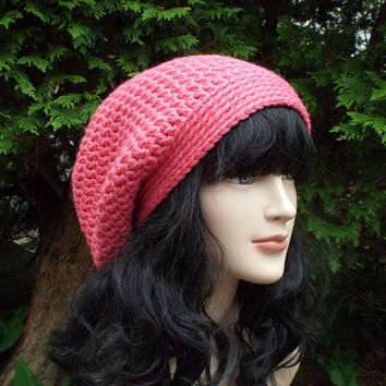 Lipstick Pink Slouch Beanie - Womens Slouchy Crochet Hat - Chunky Hat - Ladies Oversized Cap - Baggy Beanie