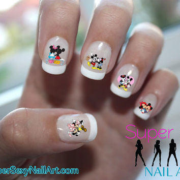 Valentine Mickey & Minnie Love Disney Nail Art Water Transfer Decal - Waterslide Paper - Water Slide Paper