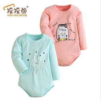 Baby Bodysuits Spring Autumn 2/3 PCS Baby Ropa Cotton Clothes Long Sleeve Baby Jumpsuit Little Kids Clothes Milk and Umbrella