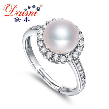 DAIMI fine jewelry 925 Sterling Silver Resizable Rings Natural White/Purple 8-9MM High Luster Freshwater Pearl Ring For Women