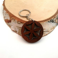 Flower of life symbol Wooden Keychain, Walnut Wood, Symbol States, Environmental Friendly Green materials