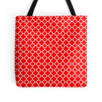 Red and White Quatrefoil Pattern by TigerLynx