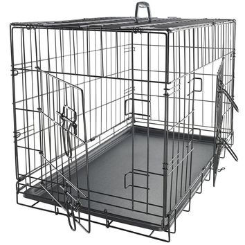 """36"""" Dog Crate 2 Door w/Divide w/Tray Fold Metal Pet Cage Kennel House"""