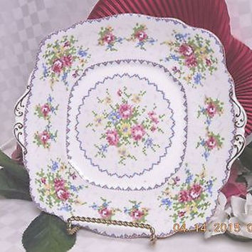 Vintage Royal Albert Bone china Petite Point Handled Cake plate