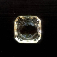 """Glass Block Ash Tray - Vintage Ash Tray - 1970s - Clear Glass - 3 1/2"""" Square with Round Center - Classic Glass Ash Tray"""