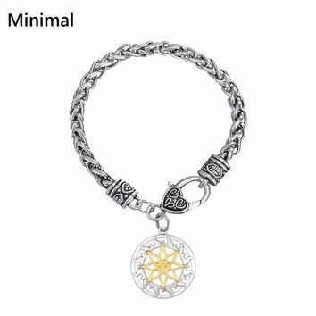 Minimal New Arrival Crystals Alatir Protection Amulet Viking Slavic Pendant Alatyr Shield Bracelet Wicca Jewelry for Men